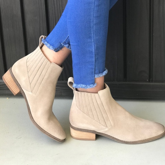 cee44123ffaa Almond Suede Distressed Slip On Ankle Boots